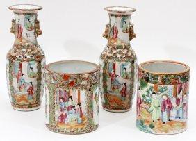 Chinese Mandarin Rose Porcelain Vases & Jars