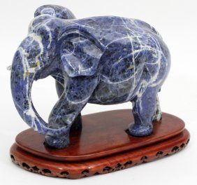 Chinese Blue Carved Sodalite Figure Of An Elephant