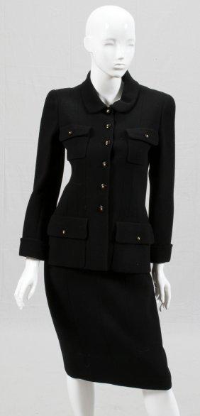 Chanel Boutique Black Wool Skirt Suit