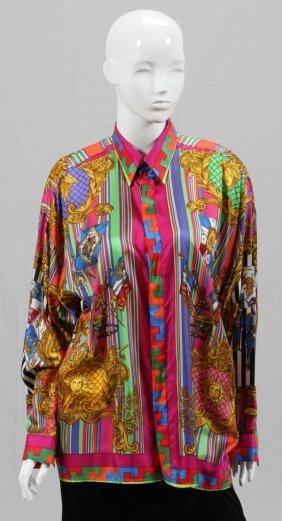 Gianni Versace Printed Silk Blouse