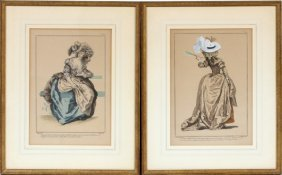 French Hand Colored Fashion Prints Antique Two