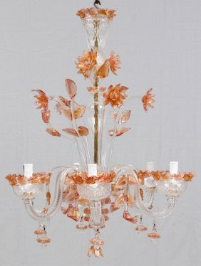 Venetian Murano Art Glass Six Arm Chandelier