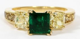 Natural Emerald & 1.80ct Fancy Yellow Diamond Ring
