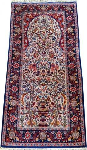 Very Fine Silk Foundation & Wool Prayer Rug
