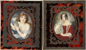 Miniature Watercolor Portraits Two 19th.c.