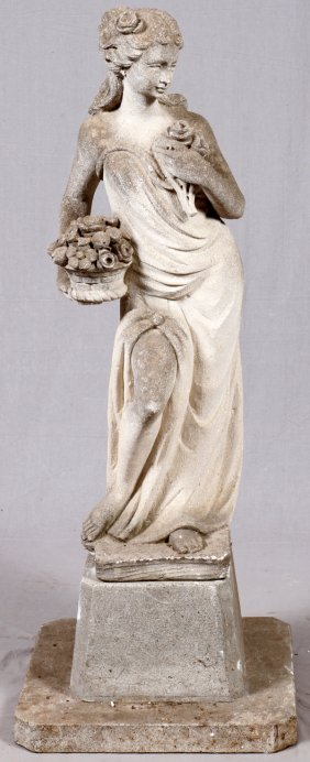 Carved Sandstone Garden Figure Girl W/ Flowers