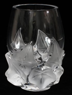 Lalique 'hedera' Clear & Frosted Glass Vase