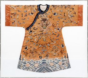 Chinese Embroidered Silk Robe 19th C.