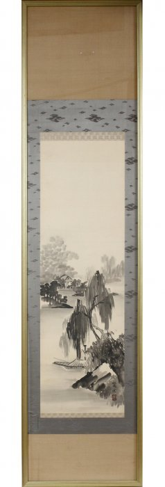 Chinese Hand Painted Silk Scroll 20th C.