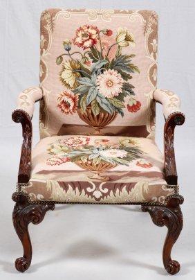 Georgian Style Mahogany & Needlepoint Armchair