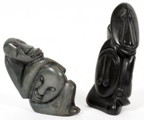 Northwest Coast Carved Soapstone Figures Two