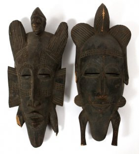 African Senufo Tribe Kpelie Tribal Masks 2 Pcs