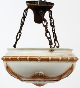 Hanging Lamp W/ Glass Globe C1900
