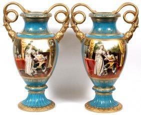 Dresden Porcelain Hand Painted Vases Pair