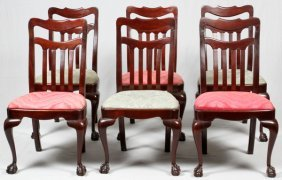 Chippendale Style Mahogany Dining Chairs Six Pcs.