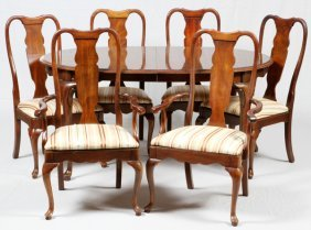 Queen Anne Style Walnut Dining Table And Chairs