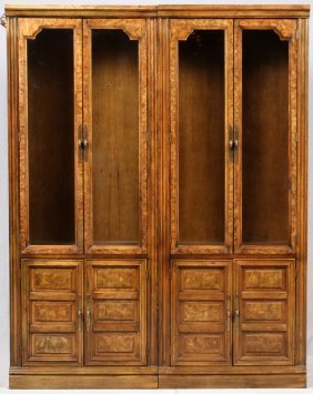 Walnut Display Bookcase Cabinets Two