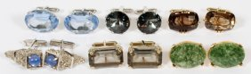 Jade Quartz And Colored Stone Cufflinks Six