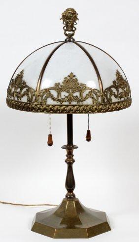 Handel Lamp Base & Slag Glass Shade C. 1920