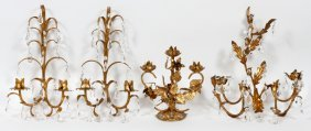 Gilt Metal Sconces And Candleholder Four Pieces