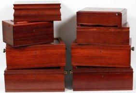 Mahogany Cigar Humidors C1950 8 Pcs.