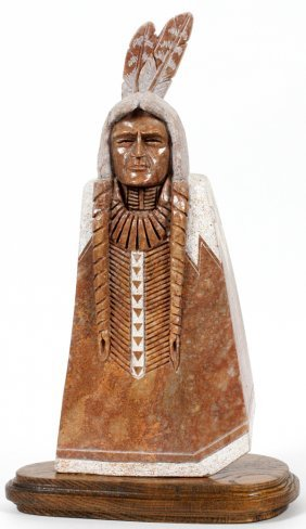 Mike Toledo Native American Warrior Stone-carving