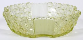 American Daisy & Button Vaseline Glass Bowl C. 1870