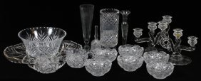 Cut & Pressed Glass Candelabra Vases Bowls &platter