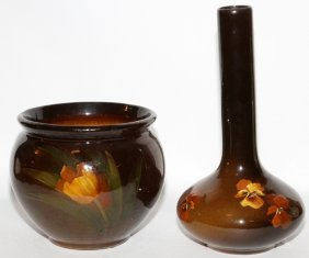 Owens Pottery Stickneck Pansy Vase & A Jardiniere