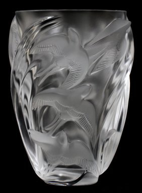 Lalique 'martinets' Frosted Glass Vase