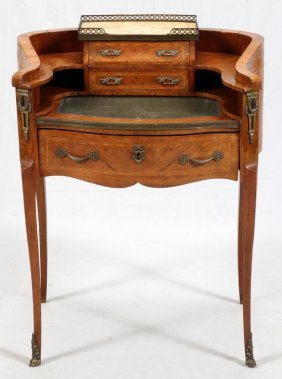 French Louis Xv Style Fruitwood & Mahogany Desk