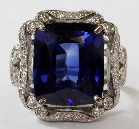15ct Sapphire .50ct Diamond And Platinum Ring