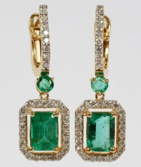 2ct Emerald And .80ct Diamond Dangle Earrings Pair