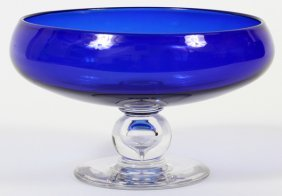 Libbey Cobalt Glass Compote