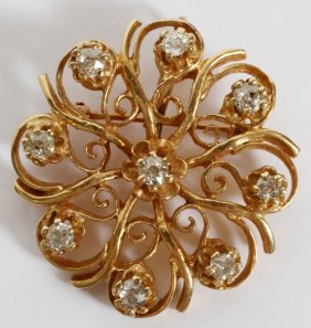 14kt Yellow Gold & Diamond Brooch