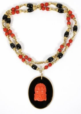 Gold, Coral & Onyx Necklace W/ Coral Buddha Pendant