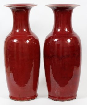 Chinese Chicken Blood Porcelain Vases Pair