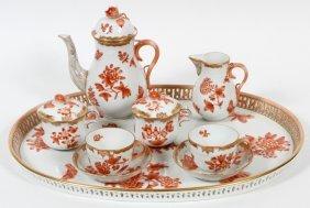 Herend 'fortuna' Coffee Set W/ Tray Nine Pieces