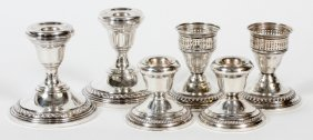 American Sterling Candlesticks Three Pairs
