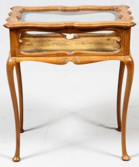 Queen Anne Style Walnut Curio Table
