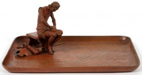 Austrian Bronze Tray W/ Attached Seated Knight