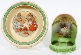 Roseville & Royal Bayreuth Dish & Chamber Stick