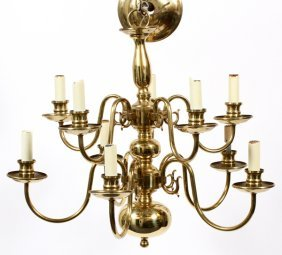 Federal Style Brass Two-tier Chandelier