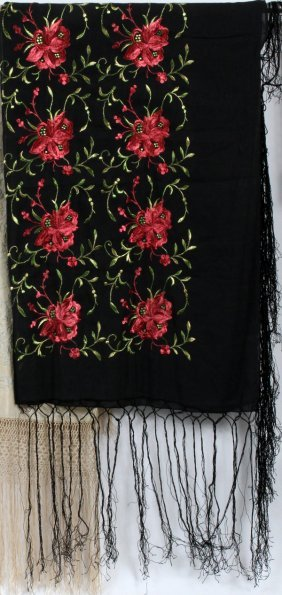 Chinese Embroidered Black Silk Shawl W/ Red Flowers