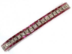 Lady's Diamond & Ruby Link Bracelet Platinum Gold