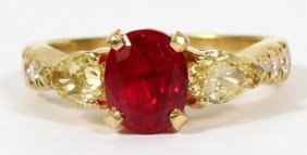 2.02ct Ruby And Fancy Yellow Diamond Ring