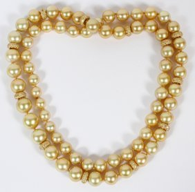 Natural Saltwater Pearl And Yellow Diamond Necklace