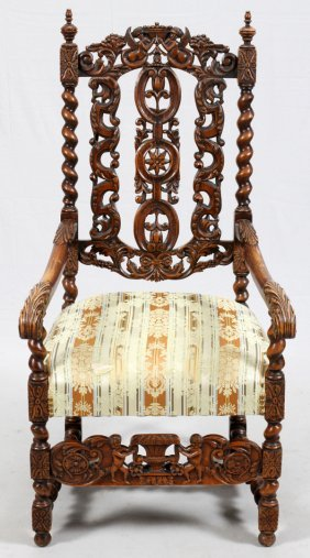 Carved Oak Arm Chair Circa 1900