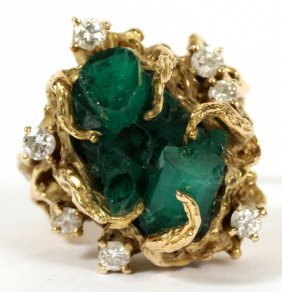 Lady's Emerald And Diamond Ring