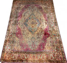 Antique Persian Motashem Kashan Silk Oriental Rug